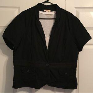 Merona Black short sleeve button blazer Plus